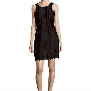 Black Sandro Rogee Fringe Dress Size 3/L